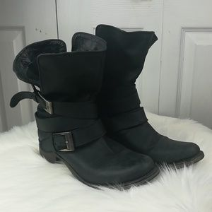 Steve Madden Brewzzer leather motorcycle boots